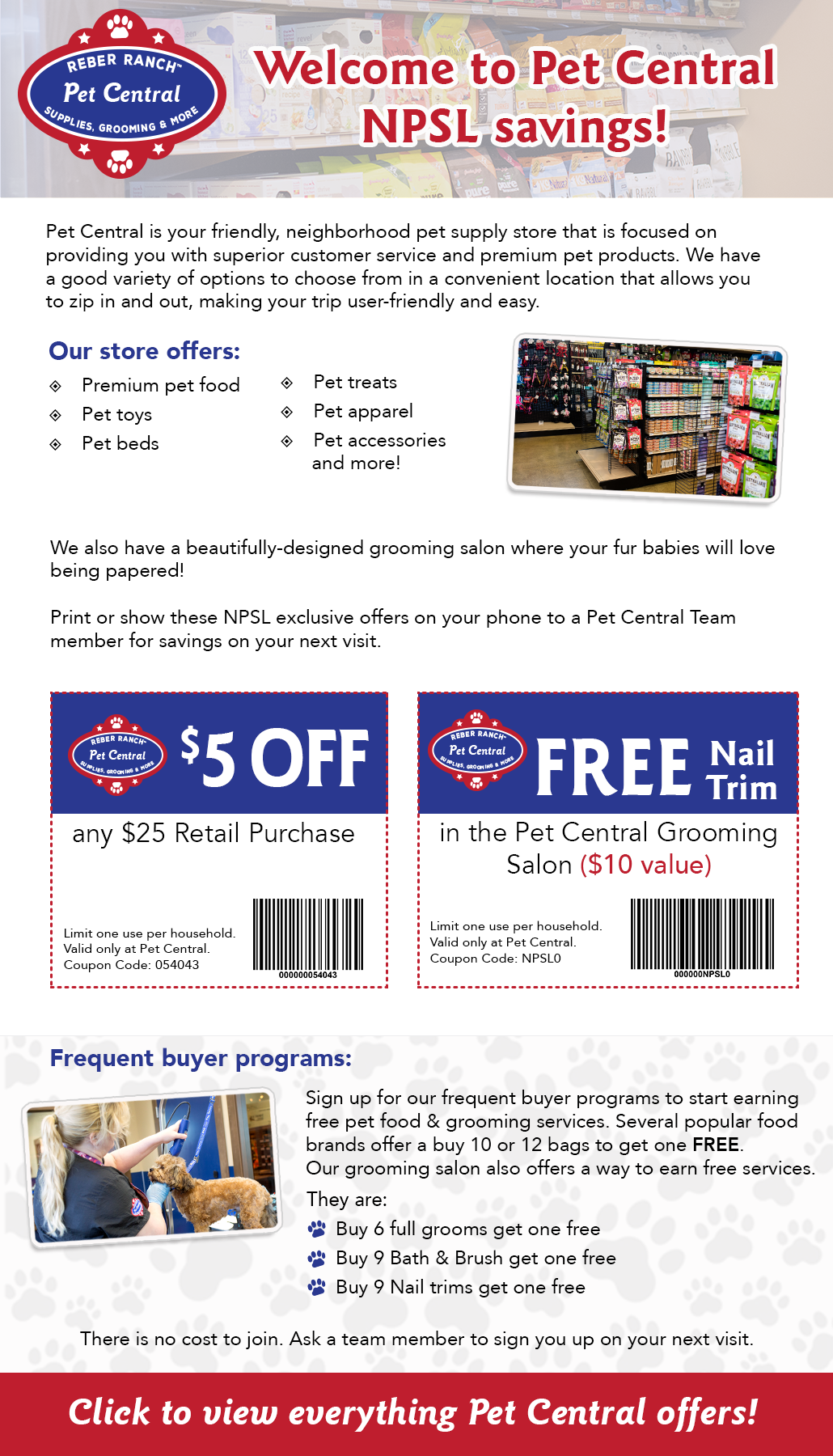 Pet Central October Special Offer